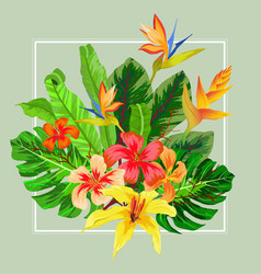 Abstract exotic tropical leaf and flowers vector