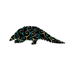 armadillo mammal color silhouette animal vector image