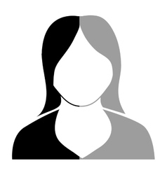 Avatar black and grey woman graphic vector
