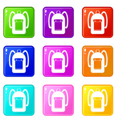 Backpack icons 9 set vector