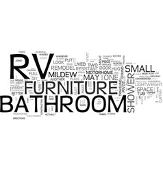 Bathroom furniture for an rv text word cloud vector