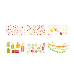 birthday party decoration symbols set carnival vector image