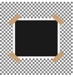 blank photo polaroid frame with adhesive tape isol vector image