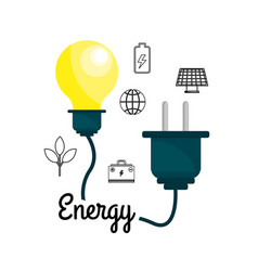 Bulb with power cable and environment icons vector