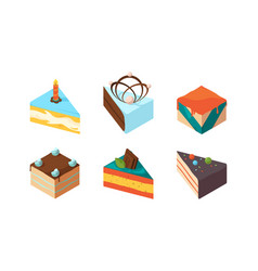 cake pieces delicious isometric sweets tasty food vector image