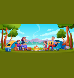 camping family resting on nature together tents vector image