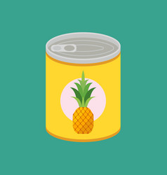 canned pineapple in flat style vector image