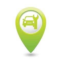 car service icon on green map pointer vector image