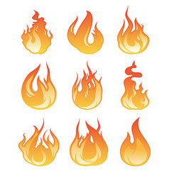 cartoon flame set fire vector image