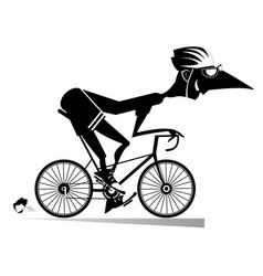Cartoon man rides a bike vector