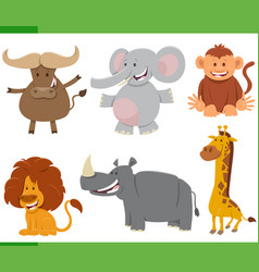 cartoon wild african animal characters set vector image