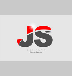 Combination letter js j s in grey red color vector