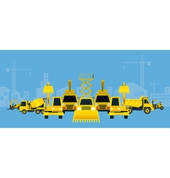 Construction Vehicles Various Type Display vector image