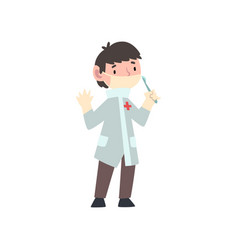 Cute boy dressed as surgeon doctor kids future vector