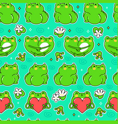 Cute funny green frog seamless pattern vector
