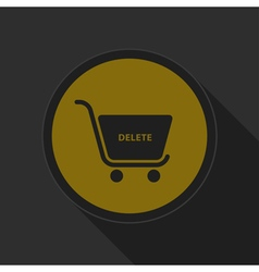 Dark gray and yellow icon - shopping cart delete vector