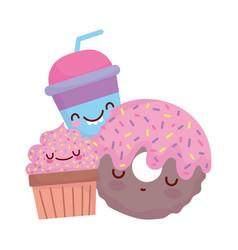 Donut cupcake and cup menu character cartoon food vector