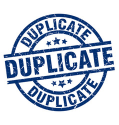 Duplicate blue round grunge stamp vector