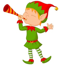 Elf cartoon with trumpet vector image