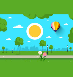 Empty park nature scene city sun and hot air vector