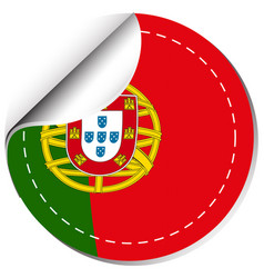 Flag of portugal in round shape vector