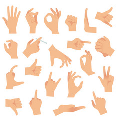Flat hand gestures pointing human finger gesture vector