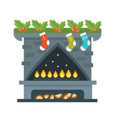 Flat style fireplace icon design house room warm vector