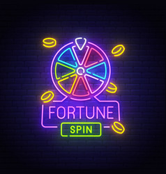 fortune neon sign bright signboard vector image