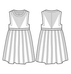 front and back view of a dress vector image