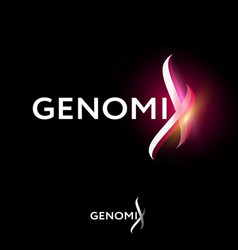 Genomix logo dna helix fragment with glow vector