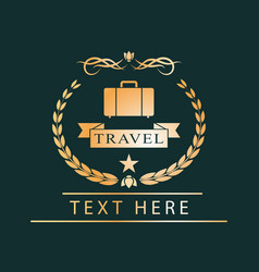 golden logotravel emblem for design vector image