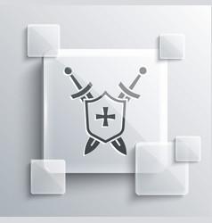 Grey medieval shield with crossed swords icon vector