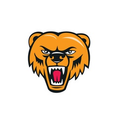 Grizzly Bear Angry Head Cartoon vector