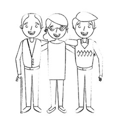 Group the elderly woman and men grandparents vector