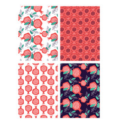 hand drawn pomegranate pattern card set vector image