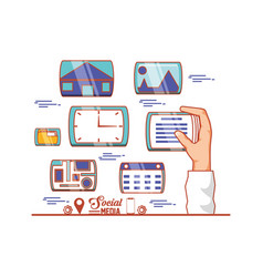 hand with social media set icons vector image