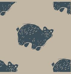Handmade carved block print bear seamless pattern vector