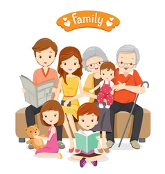 Happy Family Sitting on Sofa and Floor vector