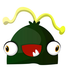 happy green monster with yellow hair on white vector image