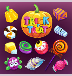 Happy halloween candy set vector