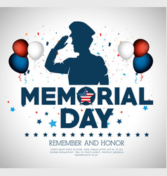 Happy memorial day soldier silhouette vector