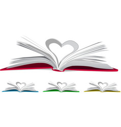 Heart from book pages vector