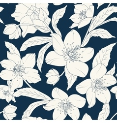Hellebore floral foliage pattern white indigo blue vector image