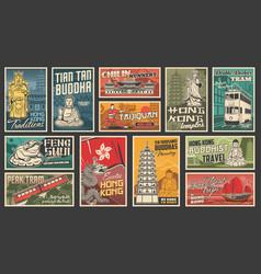 hong kong travel chinese landmarks posters vector image