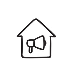 House fire alarm sketch icon vector