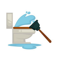 house plumbing toilet leakage or clogging plumber vector image