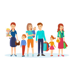 Joint purchases in shopping center family visit vector