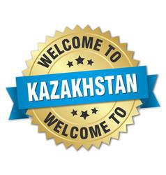 Kazakhstan 3d gold badge with blue ribbon vector