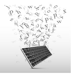 Key board with flying letters sign vector