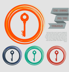 key icon on the red blue green orange buttons for vector image